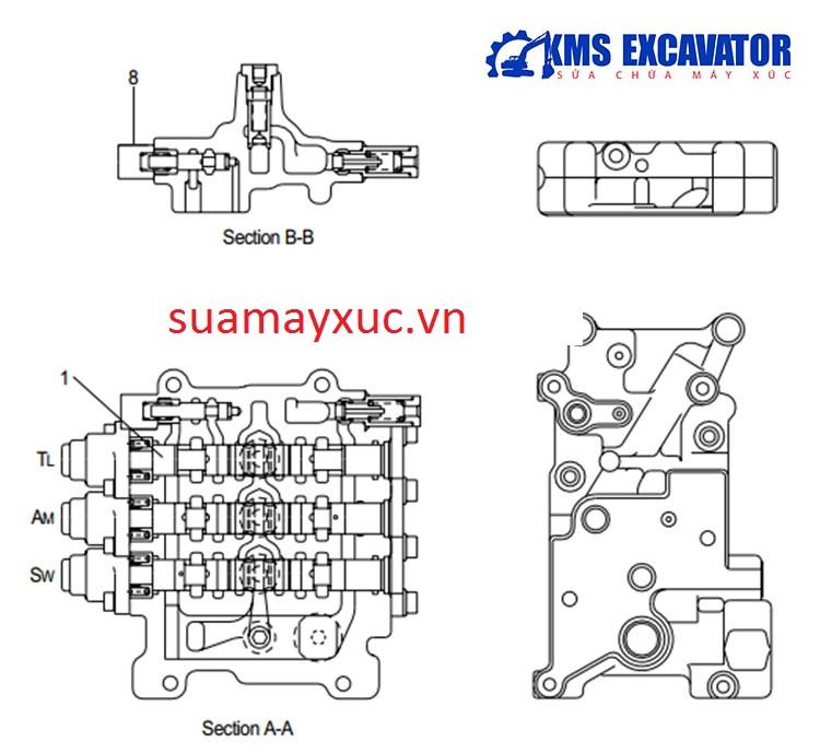 Ngăn kéo máy xúc huyndai robex 290-3