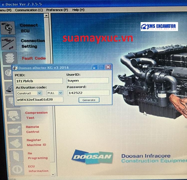 Phần mềm đọc lỗi máy xúc Doosan
