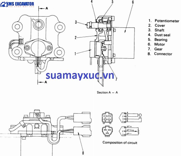 Mô tơ ga máy xúc Komatsu PC400-5