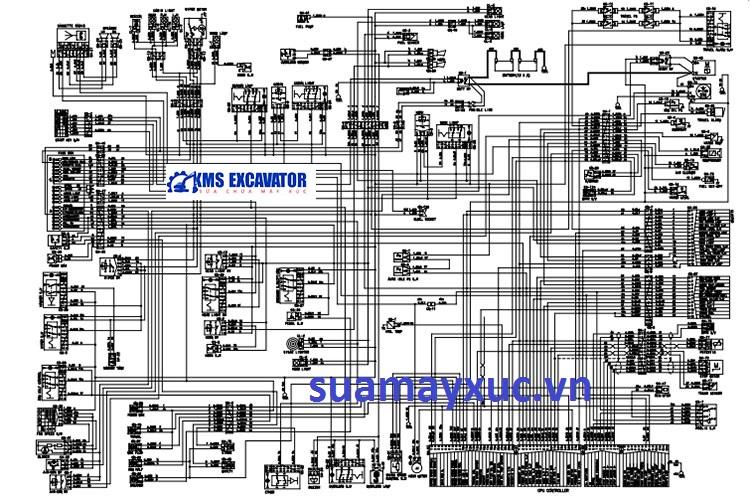 Sơ đồ hệ thống điện máy xúc huyndai 2200-3