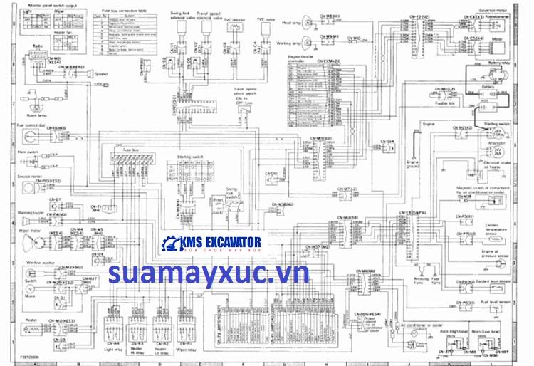 Sơ đồ hệ thống điện máy xúc Komatsu PC400-5