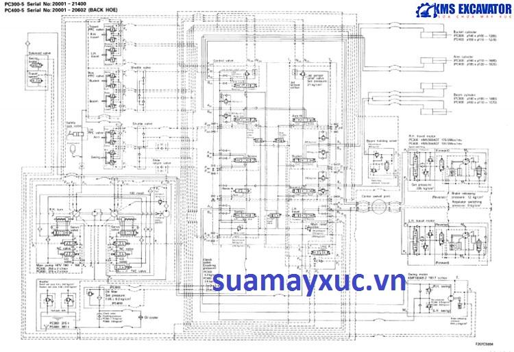 Sơ đồ thủy lực máy xúc Komatsu PC400-5