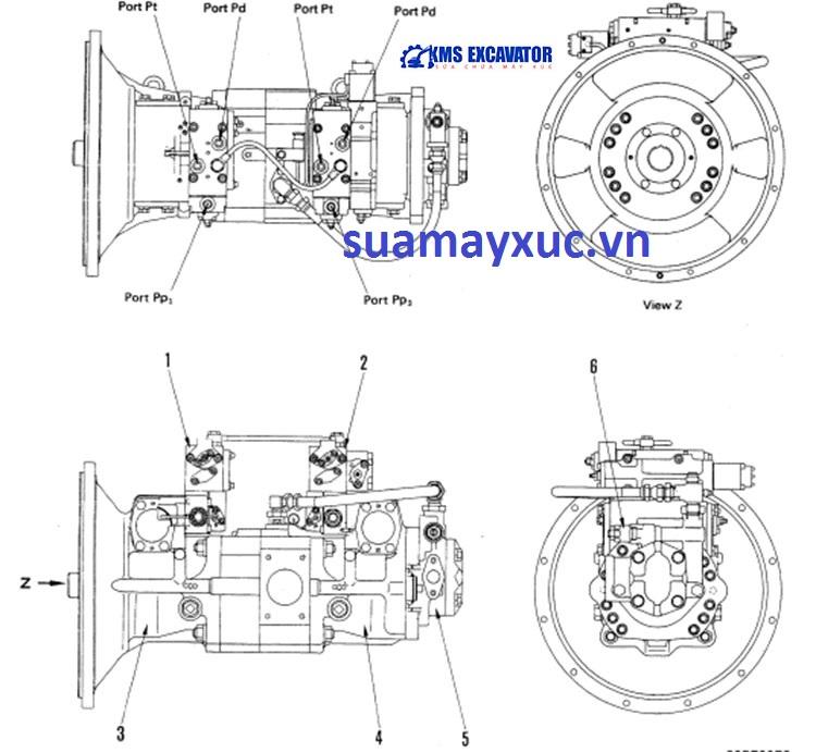 Bơm tổng máy xúc Komatsu PC200-3