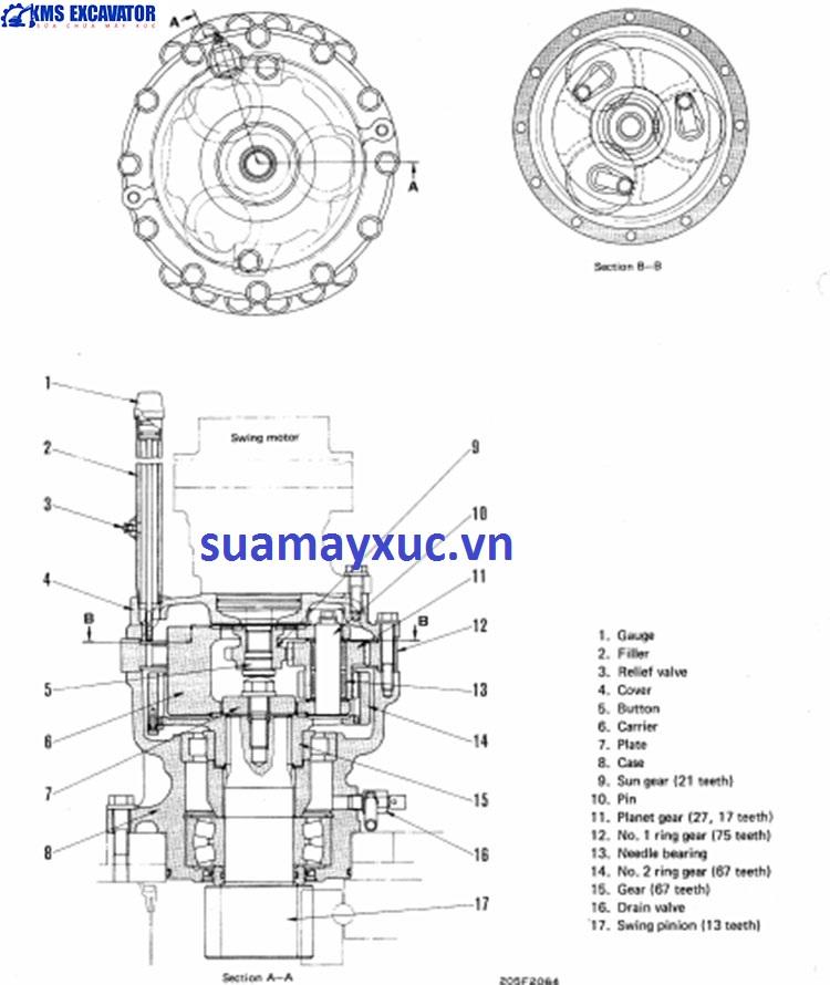 Mô tơ quay toa máy xúc Komatsu PC200-3