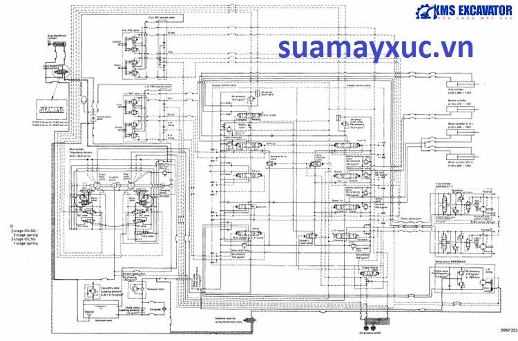Sơ đồ hệ thống thủy lực máy xúc Komatsu PC200-3