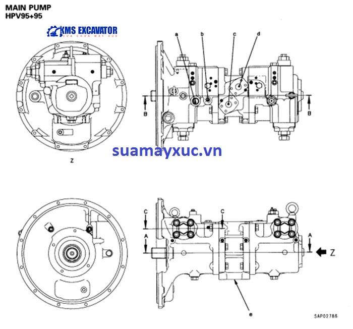 Bơm thủy lực máy xúc Komatsu PC200-6E