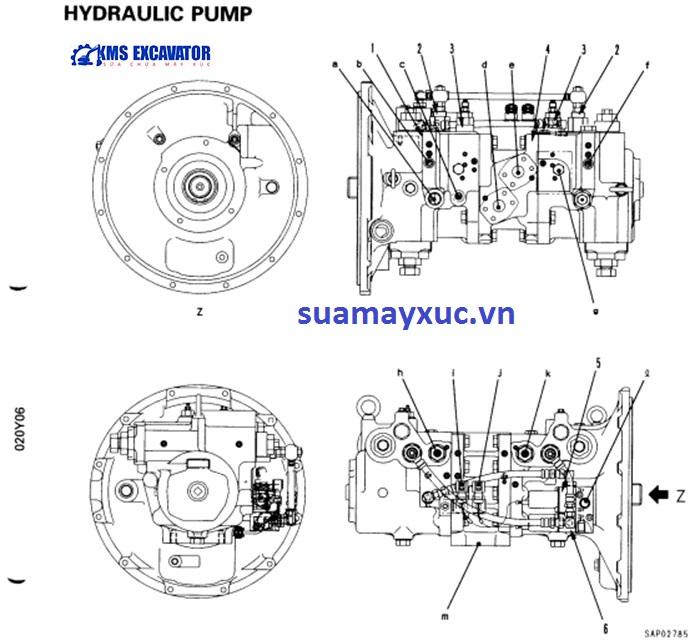 Bơm thủy lực tổng máy xúc Komatsu PC200-6E