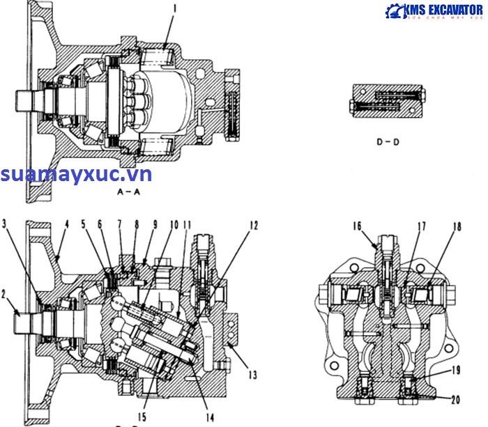 Cấu tạo mô tơ quay toa máy xúc Komatsu PC200-6E