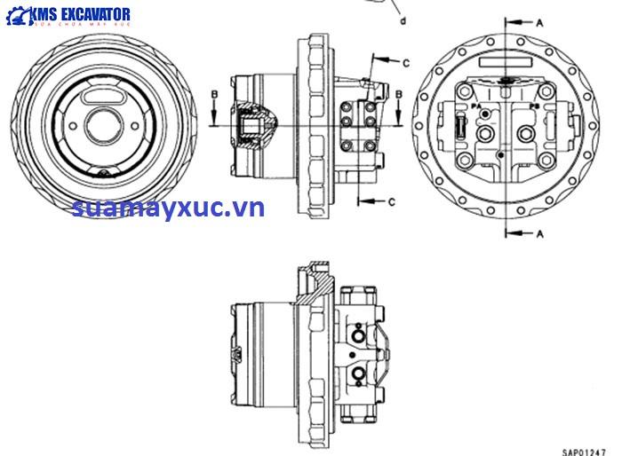 Mô tơ di chuyển máy xúc Komatsu PC200-6E