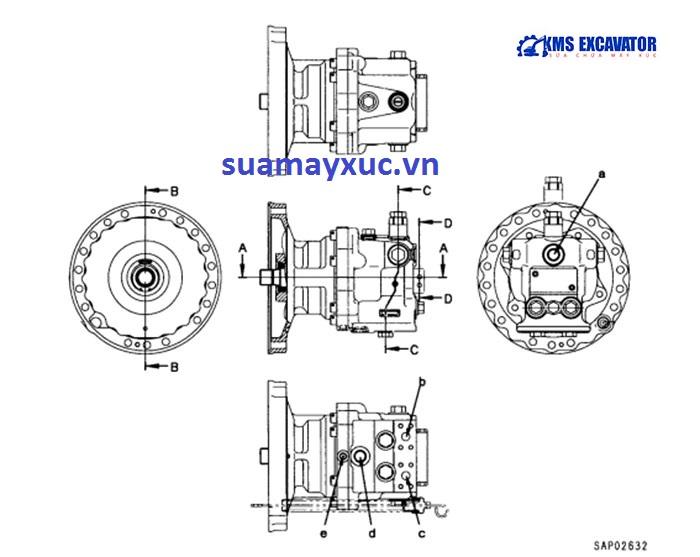 Mô tơ quay toa máy xúc Komatsu PC200-6E