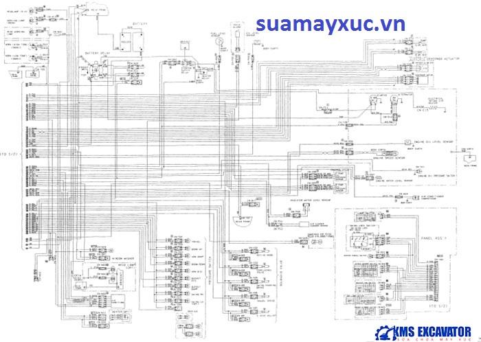 Sơ đồ hệ thống điện máy xúc Komatsu PC200-6E