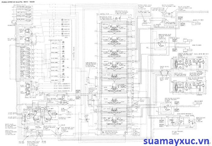 Sơ đồ thủy lực máy xúc Komatsu PC200-6E