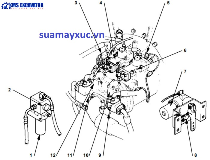 Bơm tổng máy xúc Hitachi EX200-5