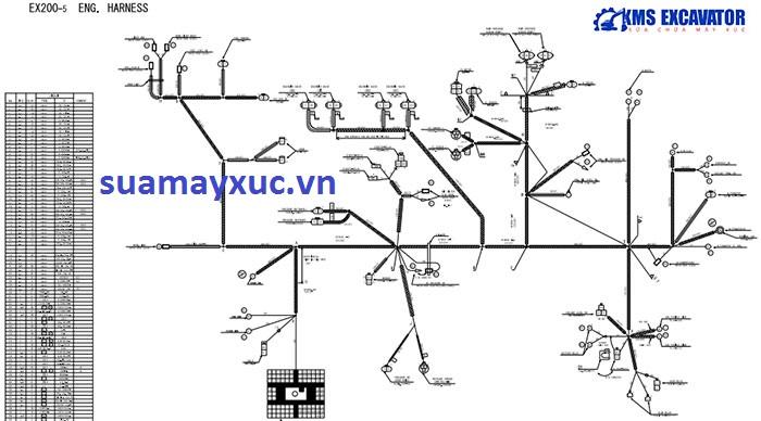 Sơ đồ hệ thống điện máy xúc Hitachi EX200-5