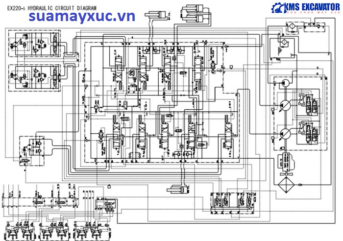 Sơ đồ hệ thống thủy lực máy xúc Hitachi EX200-5