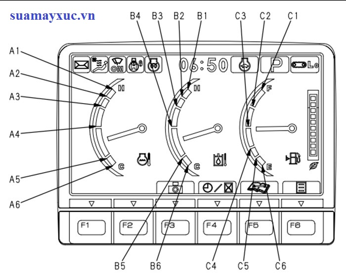 LCD hiển thị trên màn hình máy xúc PC200-8