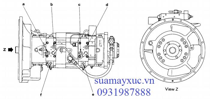 Bơm thủy lực HPV90 máy xúc Komatsu PC200-5