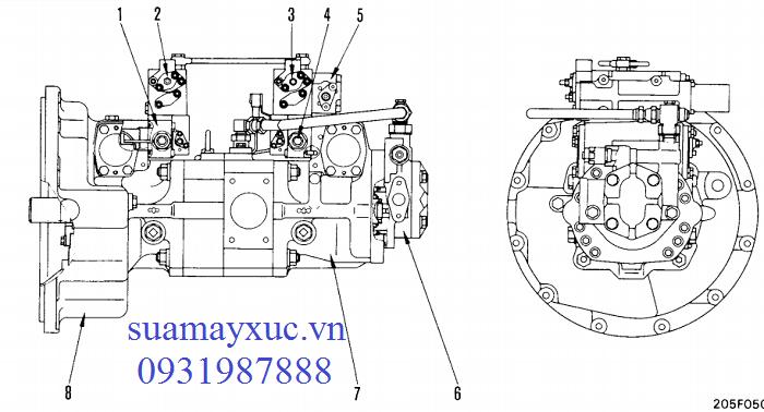 Bơm thủy lực máy xúc Komatsu PC200-5
