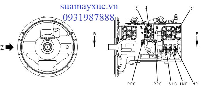 Bơm thủy lực HPV125 máy xúc Komatsu PC210-10