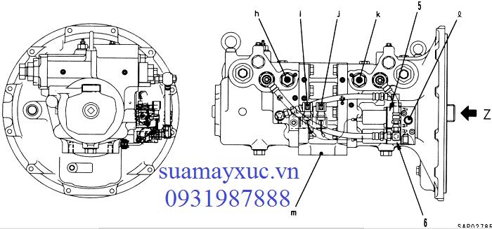 Bơm thủy lực HPV95 máy xúc Komatsu PC200-5