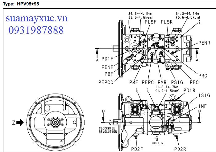 Bơm thủy lực HPV95 máy xúc Komatsu PC200-8