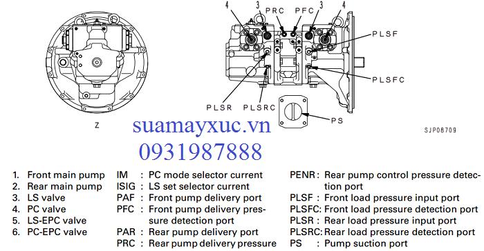 Bơm thủy lực HPV95  máy xúc Komatsu PC200lc-7