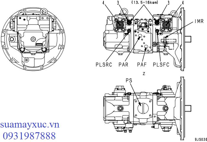 Bơm tổng HPV95 máy xúc Komatsu PC200-8