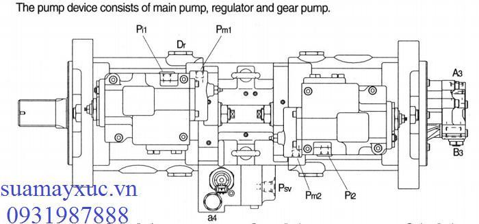 Bơm thủy lực máy xúc Huyndai Robex R2200-3