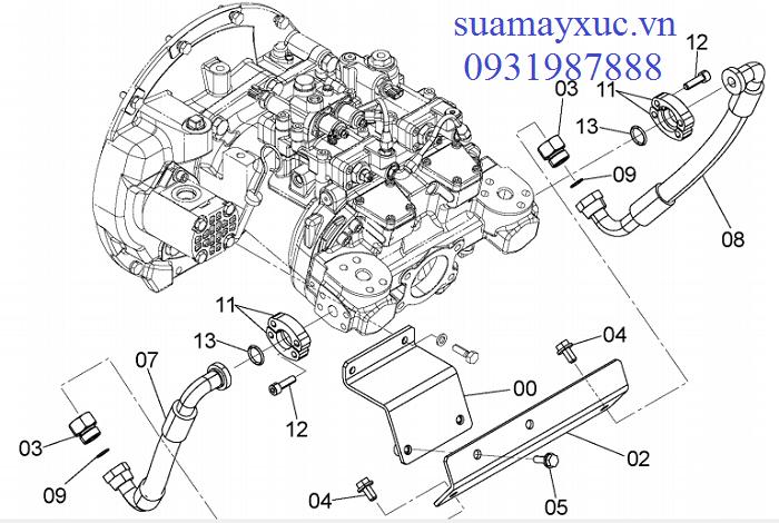 Bơm thủy lực máy xúc Hitachi ZX200-3