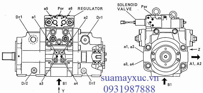 Bơm thủy lực máy xúc Kobelco sk200-2