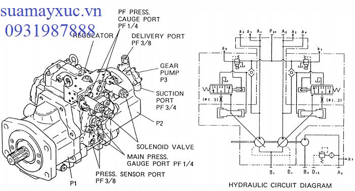 Bơm thủy lực máy xúc Kobelco sk200-3