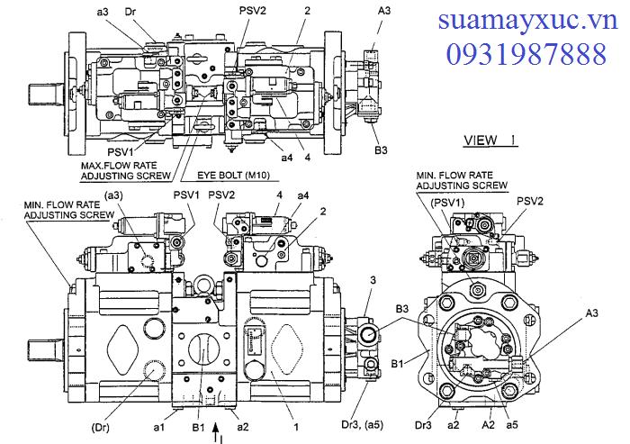 Bơm thủy lực máy xúc Kobelco SK200-6E